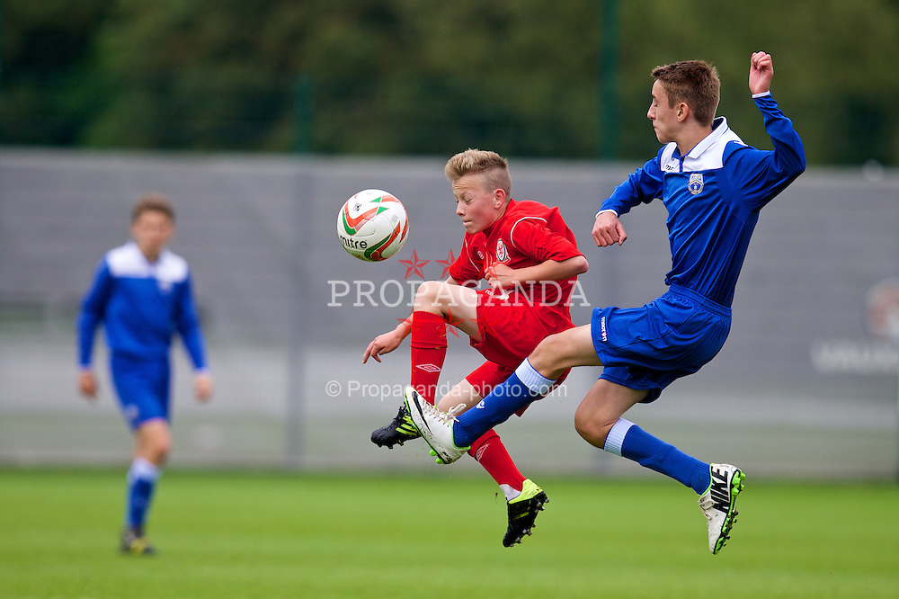 NEWPORT, WALES - Tuesday, May 27, 2014: Regional Boys' Owen Evans and South WPL Academy Boys' Will Griffiths during the Welsh Football Trust Cymru Cup 2014 at Dragon Park. (Pic by David Rawcliffe/Propaganda)