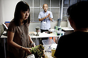 Fukushima city, July 31st - At the Citizen's Radioactivity Measuring Station, a Japanese NGO, residents can bring food to check its level of radioactivity. Saito Rie, 34, is bringing lettuce and pork to be checked.