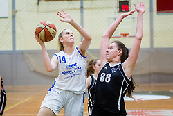 Maja Jakobcic of ZKK Triglav Kranj and Merisa Dautovic of ZKK Maribor during basketball match between ZKK Triglav Kranj and ZKD Maribor in Round #1 of 1. Slovenian Woman basketball league, on February 20, 2018 in ŠD Planina, Kranj, Slovenia. Photo by Ziga Zupan / Sportida