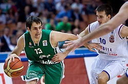 Domen Lorbek (13) of Slovenia and Uros Tripkovic of Serbia during the EuroBasket 2009 Semi-final match between Slovenia and Serbia, on September 19, 2009, in Arena Spodek, Katowice, Poland. Serbia won after overtime 96:92.  (Photo by Vid Ponikvar / Sportida)