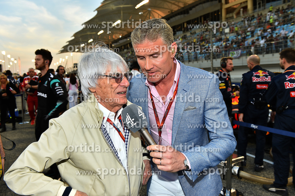 03.04.2016, International Circuit, Sakhir, BHR, FIA, Formel 1, Grand Prix von Bahrain, Rennen, im Bild Bernie Ecclestone (GBR) CEO Formula One Group (FOM) and David Coulthard (GBR) Channel Four TV Commentator on the grid // during Race for the FIA Formula One Grand Prix of Bahrain at the International Circuit in Sakhir, Bahrain on 2016/04/03. EXPA Pictures &copy; 2016, PhotoCredit: EXPA/ Sutton Images<br /> <br /> *****ATTENTION - for AUT, SLO, CRO, SRB, BIH, MAZ only*****