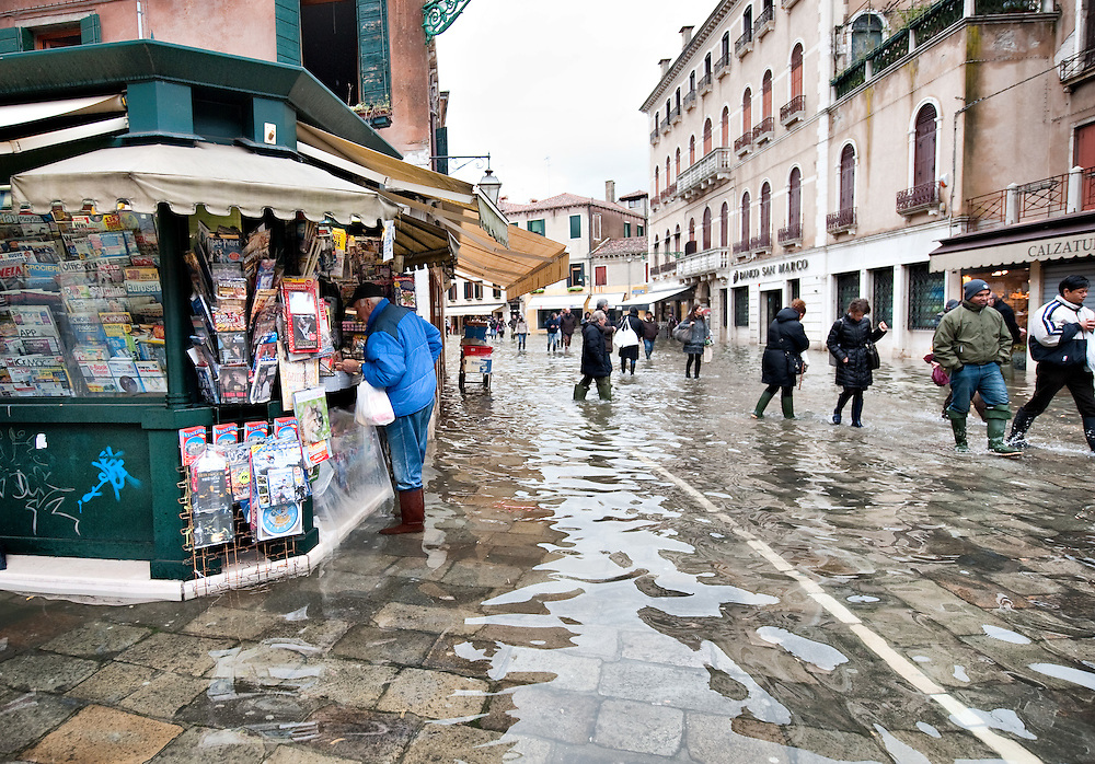 Exceptional High Tide in Venice with water above 140cm covering more than 50% ot town Marco Secchi /xianpix<br /> msecchi@gmail.com