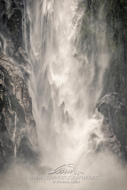 After a 151m descent, the beauty of Stirling Falls transforms into raw power at the base.   Fiordland National Park, New Zealand