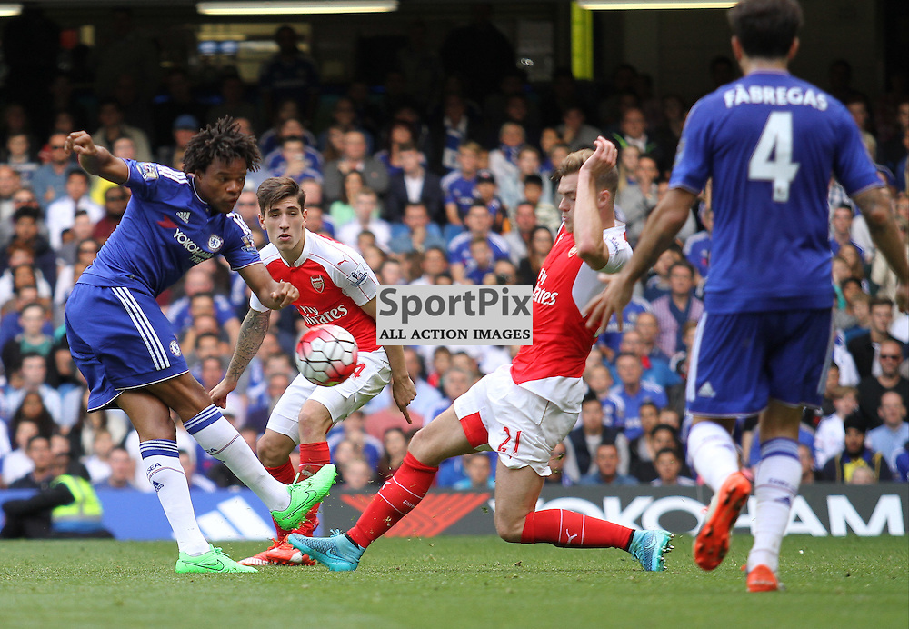 Loic Remys shot is blocked by Calum Chambers but Chelsea's but Eden Hazard followed up to score