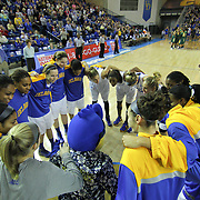 The Delaware women's basketball teams huddles together prior to a regular season NCAA basketball game against George Mason Thursday, Jan 10, 2013 at the Bob Carpenter Center in Newark Delaware...Delaware (10-3; 1-0) defeated George Mason (5-8; 0-2) 62-27..Delaware is riding a four-game winning streak after defeating George Mason, St. John's in over- time on Jan. 2 and Villanova (Dec. 29) and Duquesne (Dec. 30) to capture the 2012 Dartmouth Blue Sky Classic title.