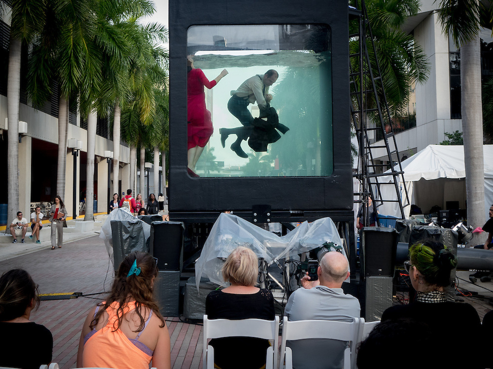 MIAMI BEACH, FLORIDA, NOVEMBER 2, 2015<br /> An installation called Holoscenes on the downtown campus of Miami Dade College a day before  the official opening of Art Basel 2015. (Photo by Angel Valentin/Freelance)