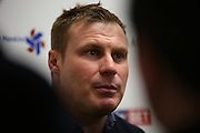 Bury Manager David Flitcroft answers the press questions following during the Sky Bet League 1 match between Bury and Barnsley at The JD Stadium, Bury, England on 23 February 2016. Photo by Simon Brady.
