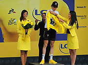 SAINT-LARY-SOULAN COL DU PORTET, FRANCE - JULY 25 : THOMAS Geraint (GBR) of Team SKY pictured with the yellow jersey during the podium ceremony after stage 17 of the 105th edition of the 2018 Tour de France cycling race, a stage of 65 kms between Bagneres-de-Luchon and Saint-Lary-Soulan Col Du Portet on July 25, 2018 in Saint-Lary-Soulan Col Du Portet, France, 25/07/2018