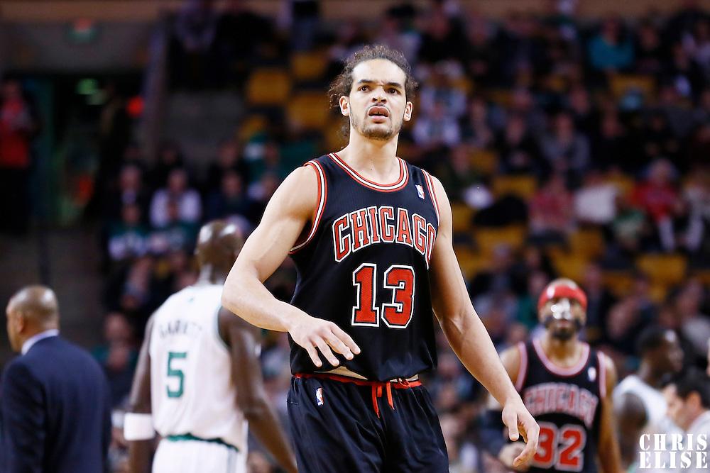 18 January 2013: Chicago Bulls center Joakim Noah (13) reacts during the Chicago Bulls 100-99 overtime victory over the Boston Celtics at the TD Garden, Boston, Massachusetts, USA.