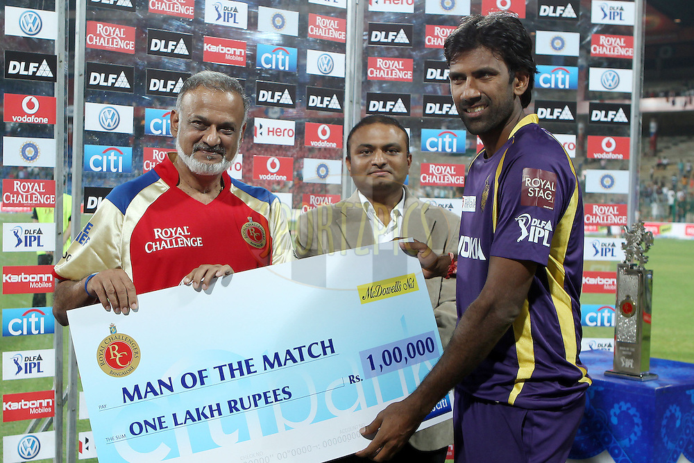 Lakshmipathy Balaji receives the Man Of the match award during match 10 of the the Indian Premier League ( IPL) 2012  between The Royal Challengers Bangalore and theKolkata Knight Riders held at the M. Chinnaswamy Stadium, Bengaluru on the 10th April 2012..Photo by Ron Gaunt/IPL/SPORTZPICS