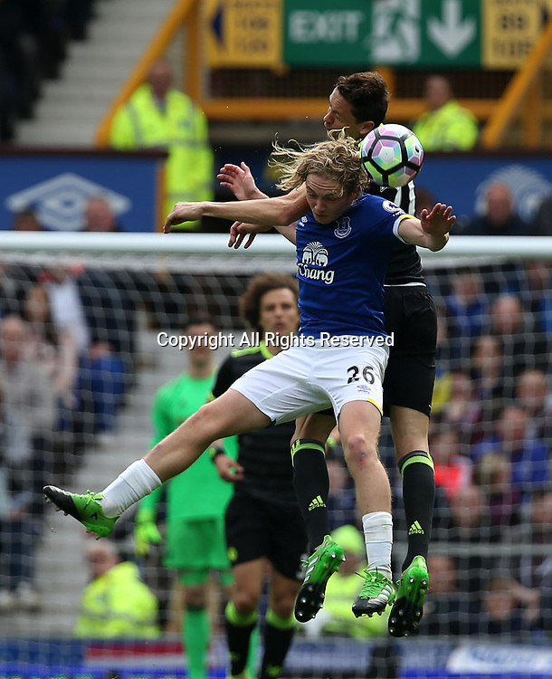 April 30th 2017, Goodison Park, Liverpool, England; EPL Premier league football, Everton versus Chelsea; Tom Davies of Everton and Nemanja Matic of Chelsea compete for a header