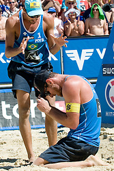Emanuel Rego of Brazil calms donw Alison Conte Cerutti of Brazil at A1 Beach Volleyball Grand Slam tournament of Swatch FIVB World Tour 2010, bronze medal, on August 1, 2010 in Klagenfurt, Austria. (Photo by Matic Klansek Velej / Sportida)
