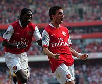Photo: Tony Oudot.<br /> Arsenal v Bolton Wanderers. The Barclays Premiership. 14/04/2007.<br /> Cesc Fabregas of Arsenal celebrates his winning goal with Emmanuel Adebayor