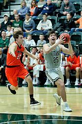 BLOOMINGTON, IL - December 15: Tarren Hall and Doug Wallen during a college basketball game between the IWU Titans  and the Carroll Pioneers on December 15 2018 at Shirk Center in Bloomington, IL. (Photo by Alan Look)