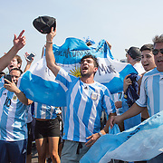 EAST RUTHERFORD, NEW JERSEY - JUNE 26:  Argentina fans arriving for the final at MetLife Stadium during the Argentina Vs Chile Final match of the Copa America Centenario USA 2016 Tournament at MetLife Stadium on June 26, 2016 in East Rutherford, New Jersey. (Photo by Tim Clayton/Corbis via Getty Images)