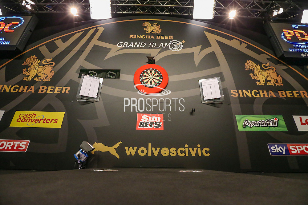The main stage during the Quarter Final of the Singha Beer Grand Slam of Darts at Wolverhampton Civic Hall, Wolverhampton, United Kingdom on 19 November 2016. Photo by Shane Healey.