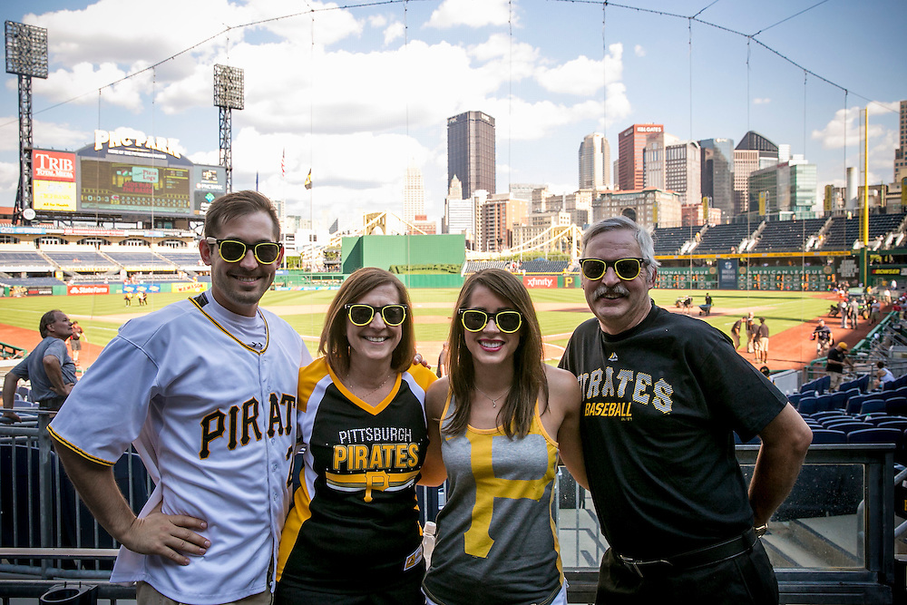 August 4-7, 2016, Pittsburgh, PA:<br /> Anthony, Diane, Alaina, and Jim Stipcak pose at PNC Park after a game between the Pittsburgh Pirates and the Cincinnati Reds during a trip to Pittsburgh Pennsylvania Thursday, August 4 through Sunday, August 7, 2016.<br /> (Photo by Billie Weiss)