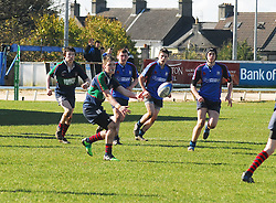 Calasanctius Out Half Mark Coyle set up another attack during the Connacht Schools Junior Cup final against Rice College...Pic Conor McKeown