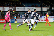 Dundee&rsquo;s Kane Hemmings and Rory Loy race back after Hemmings had scored his side's late equaliser - Dundee v Partick Thistle, Ladbrokes Premiership at Dens Park<br /> <br />  - &copy; David Young - www.davidyoungphoto.co.uk - email: davidyoungphoto@gmail.com