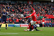 Middlesbrough forward Britt Assombalonga (9) is dispossessed  during the EFL Sky Bet Championship match between Middlesbrough and Derby County at the Riverside Stadium, Middlesbrough, England on 27 October 2018.