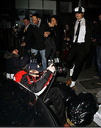 10.JANUARY.2007. LONDON<br /> <br /> PETE DOHERTY ARRIVING AT THE GREEN BOTTLE PUB IN CAMBEN WITH A STUPID HAT ON HIS HEAD WHERE HE WAS PEFORMING WITH BABYSHAMBLES, WHEN HE CAME OUT AT 12.30 HE HAD HIS GUITAR IN ONE HAND DRINK IN THE OTHER AND FAG IN HIS MOUTH. AS ALL THE PAPS WERE TAKING PICTURES OF HIM ONE PHOTOGRAPHER FELL ON THE FLOOR AND PETE STARTED KICKING THE PHOTOGRAPHER WHEN HE WAS ON THE FLOOR AND SHOUTING AT HIM HE THEN GOT INTO A CAB.<br /> <br /> BYLINE: EDBIMAGEARCHIVE.CO.UK<br /> <br /> *THIS IMAGE IS STRICTLY FOR UK NEWSPAPERS AND MAGAZINES ONLY*<br /> *FOR WORLD WIDE SALES AND WEB USE PLEASE CONTACT EDBIMAGEARCHIVE - 0208 954 5968*