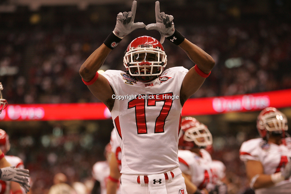 2 January 2009: Utah cornerback Robert Johnson (17) celebrates during a 31-17 win by the Utah Utes over the Alabama Crimson Tide in the 75th annual Allstate Sugar Bowl at the Louisiana Superdome in New Orleans, LA.