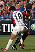 20,05/06 Powergen Cup Bath Rugby vs Bristol Rugby,  Bath's Danny Grewcock is tackled by Danny Gray. Bath, ENGLAND, 01.10.2005   © Peter Spurrier/Intersport Images - email images@intersport-images..