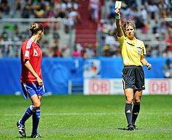 20.07.2010, , Augsburg, GER, FIFA U-20 Frauen Worldcup, Frankreich vs Deutschland, im Bild Amelie BARBETTA (Saint-Etienne FRA #19) sieht die gelbe Karte, EXPA Pictures © 2010, PhotoCredit: EXPA/ nph/  Roth+++++ ATTENTION - OUT OF GER +++++ / SPORTIDA PHOTO AGENCY