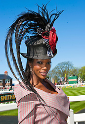 LIVERPOOL, ENGLAND - Friday, April 8, 2011: Winner of the Matalan Style Contest 2011, Lystra Adams, enjoys Ladies Day, Day 2 of the 2011 Grand National meeting at Aintree Racecourse. (Photo by David Tickle/Propaganda)