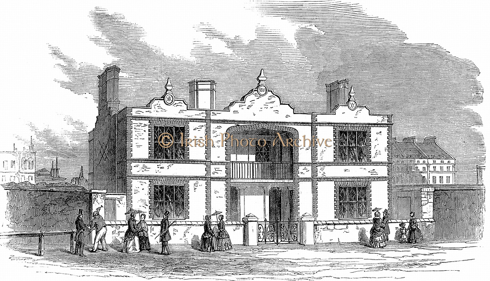 Prince Albert's model dwelling for the labouring classes designed for 4 families. Each family occupying a flat. Hollow brick construction. Illustration published 1851. A number of these buildings were constructed.