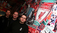 Photo: Paul Thomas.<br /> Photography of Norwegian Liverpool supporters at Anfield. 04/03/2007.<br /> <br /> Norwegian Liverpool supporters Andre Oien (R), Einar Kvande and Per Arild Soly (L).