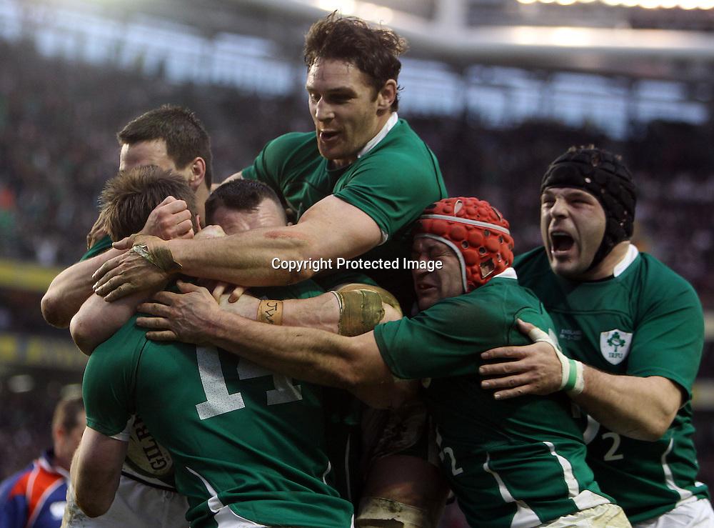 RBS Six Nations Championship, Aviva Stadium, Dublin 19/3/2011<br />Ireland vs England<br />Ireland celebrates Tommy Bowe try <br />Mandatory Credit &copy;INPHO/Dan Sheridan *** Local Caption ***