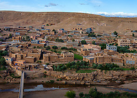 AIT BEN HADDOU, MOROCCO - CIRCA APRIL 2017: Panoramic view of Ait Ben Haddou.