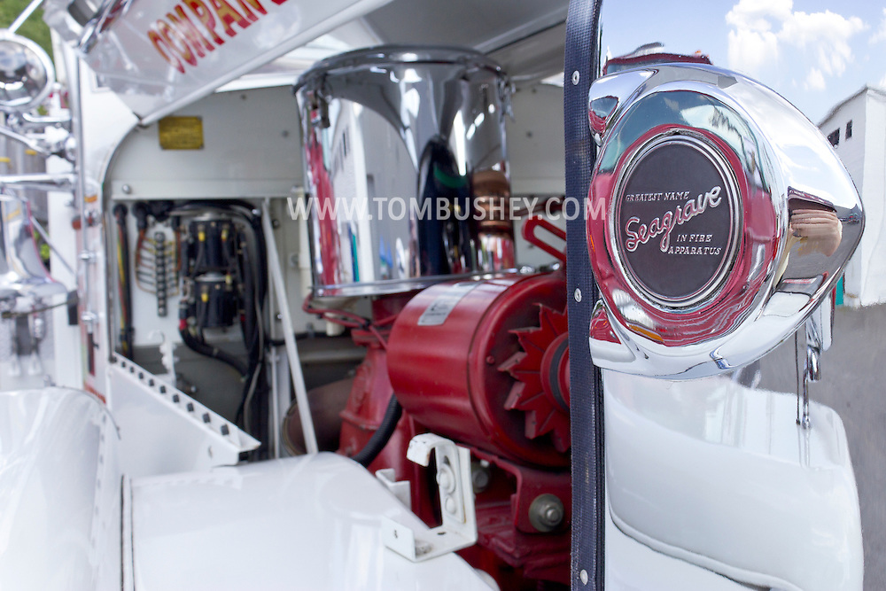 Circleville, New York - A chrome Seagrave Fire Apparatus logo on an antique fire trucks on display at the Catskill Fire Cats 36th Annual Muster on Aug. 4, 2012. Seagrave is the oldest continuous manufacturer of fire apparatus in North America. The company was founded by Frederic Seagrave in 1881 in Detroit, Michigan.