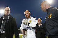 Onderwerp/Subject: Cambuur Leeuwarden - Jupiler League<br /> Reklame:  <br /> Club/Team/Country: <br /> Seizoen/Season: 2012/2013<br /> FOTO/PHOTO: Goalkeeper Leonard NIENHUIS (C) of Cambuur Leeuwarden leaving the pitch after injury and Doctor Dirk STEENSMA (BEHIND) of Cambuur Leeuwarden and Goalkeeper Trainer Rene GROTENHUIS (R) of Cambuur Leeuwarden. (Photo by PICS UNITED)<br /> <br /> Trefwoorden/Keywords: <br /> #06 $94 &plusmn;1367598354739<br /> Photo- &amp; Copyrights &copy; PICS UNITED <br /> P.O. Box 7164 - 5605 BE  EINDHOVEN (THE NETHERLANDS) <br /> Phone +31 (0)40 296 28 00 <br /> Fax +31 (0) 40 248 47 43 <br /> http://www.pics-united.com <br /> e-mail : sales@pics-united.com (If you would like to raise any issues regarding any aspects of products / service of PICS UNITED) or <br /> e-mail : sales@pics-united.com   <br /> <br /> ATTENTIE: <br /> Publicatie ook bij aanbieding door derden is slechts toegestaan na verkregen toestemming van Pics United. <br /> VOLLEDIGE NAAMSVERMELDING IS VERPLICHT! (&copy; PICS UNITED/Naam Fotograaf, zie veld 4 van de bestandsinfo 'credits') <br /> ATTENTION:  <br /> &copy; Pics United. Reproduction/publication of this photo by any parties is only permitted after authorisation is sought and obtained from  PICS UNITED- THE NETHERLANDS