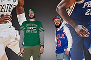 Boston Celtics and Philadelphia 76ers fans before the NBA London Game match between Philadelphia 76ers and Boston Celtics at the O2 Arena, London, United Kingdom on 11 January 2018. Photo by Martin Cole.