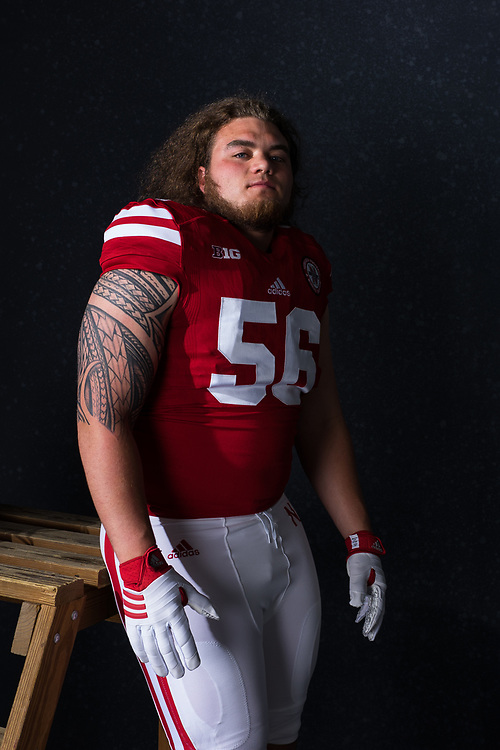 Boe Wilson #56 during a portrait session at Memorial Stadium in Lincoln, Neb. on June 7, 2017. Photo by Paul Bellinger, Hail Varsity