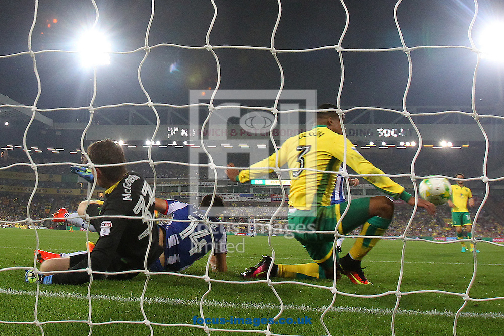 Martin Olsson of Norwich makes a vital interception to deny Jordi Gomez of Wigan Athletic a scoring opportunity during the Sky Bet Championship match at Carrow Road, Norwich<br /> Picture by Paul Chesterton/Focus Images Ltd +44 7904 640267<br /> 13/09/2016