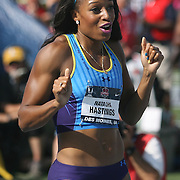 HASTINGS - 13USA, Des Moines, Ia.  - Natasha Hastings did a jig at the finish line after winning the 400.  Photo by David Peterson