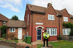 © Licensed to London News Pictures. 20/08/2018<br /> NEW ELTHAM, UK.<br /> This morning a police officer stands guard outside a property believed to belong to Joe Xuereb who was arrested yesterday in connection with a hammer attack on two women.Photo credit: Grant Falvey/LNP
