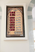 Muslim prayer schedule Photographed in Nuzha Mosque, Jaffa, Israel