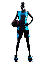one  caucasian woman basketball player dribbling in silhouette isolated white background