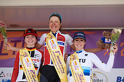 Top three on the stage: Vita Heine (NOR), Liane Lippert (GER) and Marta Bastianelli (ITA) at Lotto Thüringen Ladies Tour 2019 - Stage 3, a 97.8 km road race in Dörtendorf, Germany on May 30, 2019. Photo by Sean Robinson/velofocus.com