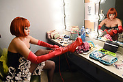 Beth Curry gets ready backstage before Totsy performs at Tempe Center for the Arts Disruptfest