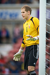 Wrexham, Wales - Wednesday, August 12th, 2009: Hungary's Peter Gulacsi during the UEFA Under 21 Championship Qualifying Group 3 match at the Racecourse Ground. (Photo by Chris Brunskill/Propaganda)