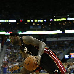 Mar 22, 2014; New Orleans, LA, USA; Miami Heat forward LeBron James (6) drives in against against the New Orleans Pelicans during the second half of a game at the Smoothie King Center. The Pelicans defeated the Heat 105-95. Mandatory Credit: Derick E. Hingle-USA TODAY Sports