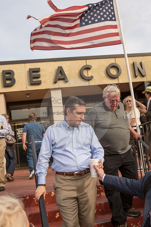 U.S. Senator Ted Cruz and GOP presidential candidate departs following a town hall meeting at the famous Beacon Drive-in restaurant before April 3, 2015 in Spartanburg, South Carolina.