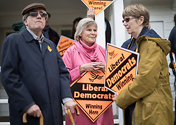© Licensed to London News Pictures. 28/04/2017. London, UK. Rachel Smith (C), wife of Liberal Democrat Vince Cable talks to supporters as he launches his election campaign from Twickenham Green.  Photo credit: Peter Macdiarmid/LNP