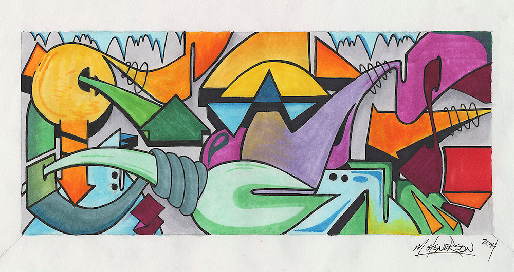 Marker and pen on cotton rag paper. Abstract typography.