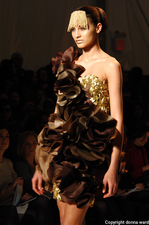 A model wears a creation by Cristian Siriano during Mercedes-Benz Fashion Week Fall 2009 show at Bryant Park in New York City, USA on February 19, 2008.